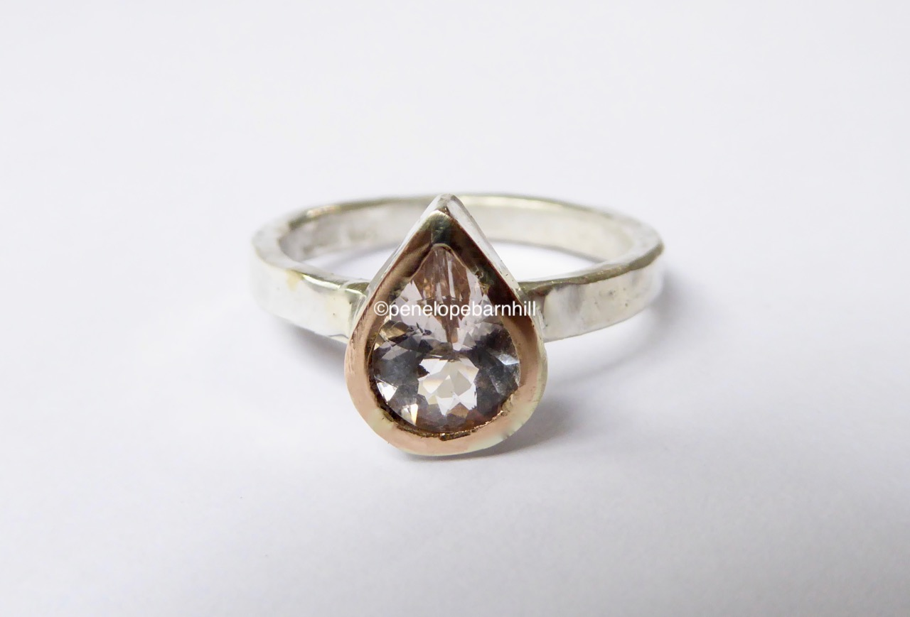 Morganite Pear Ring Fine Silver Silver Pink Gold Size